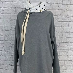 NWT Cozy Sweatshirt Polka Dot Cowl Neck Pockets